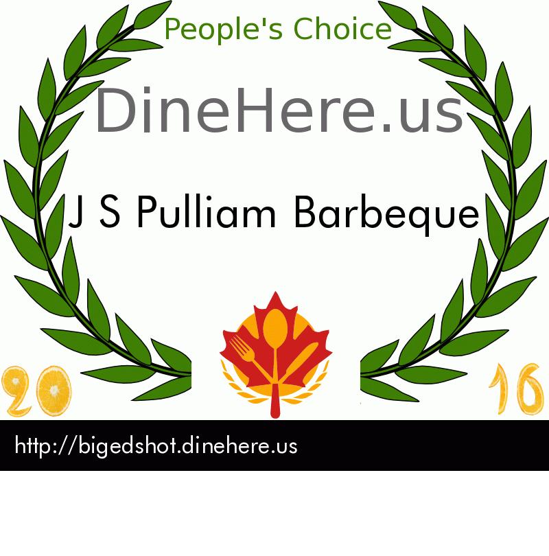 J S Pulliam Barbeque DineHere.us 2016 Award Winner